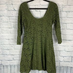 Free People 3/4 Sleeve Fit Flare Skater Dress
